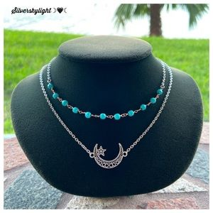 Turquoise gems moon star double layer necklace